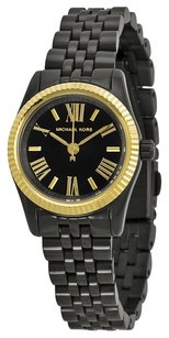 Michael Kors WOMEN'S PETITE LEXINGTON GOLD TONE BLACK DIAL WATCH $195