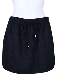 MICHAEL Michael Kors Womens Navy Med Linen Above Knee Skirt Blue