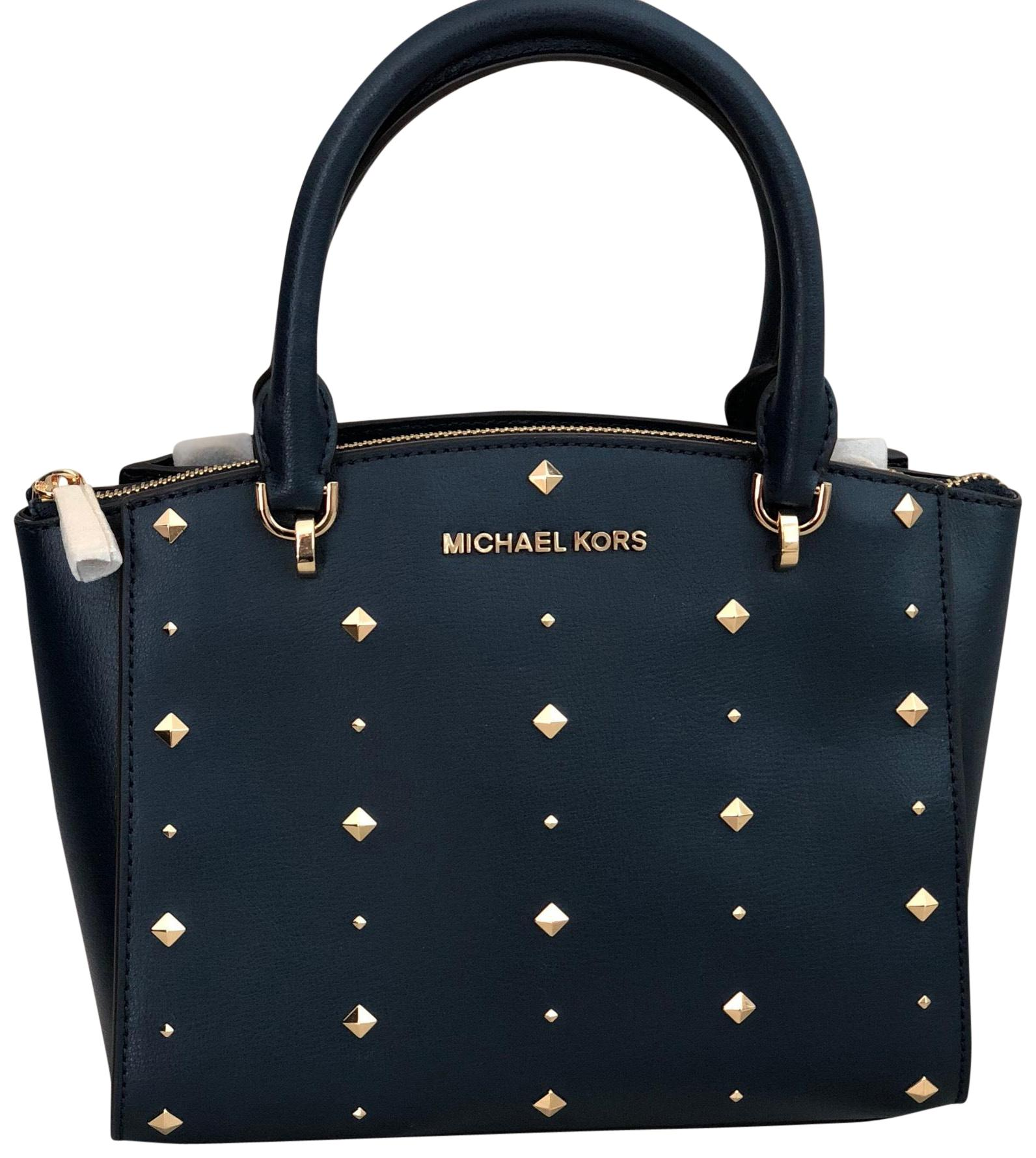 ca394f9702ef ... official michael michael kors satchel in navy 8c9e1 7b24f