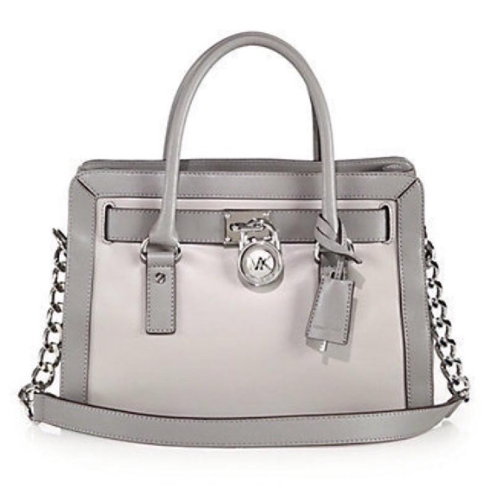 7dce37f6aa698 ... wholesale michael michael kors east west convertible shoulder two tone  satchel in pearl and steel grey