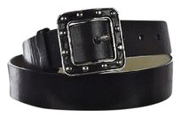 MICHAEL Michael Kors Michael Michael Kors Womens Black Width Belt Textured Leather