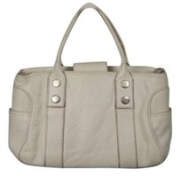 MICHAEL Michael Kors Womens Leather Casual Handbag Satchel in Ivory