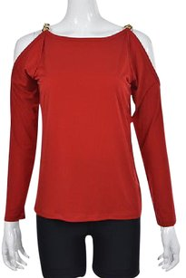 MICHAEL Michael Kors Womens Casual Long Sleeve Shirt Top Red