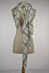 Michael Stars Michael Stars Womens Gray Plaid Scarf One Fringe Casual
