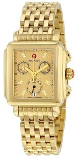 Michele Deco Gold Metallic Dial Gold-plated Steel Ladies Watch MWW06P000244
