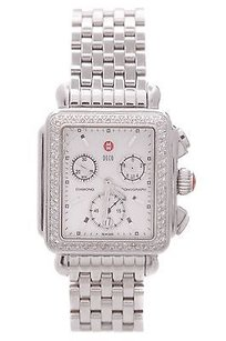Michele Michele Stainless Steel Diamond Deco Day Chronograph Womens Watch