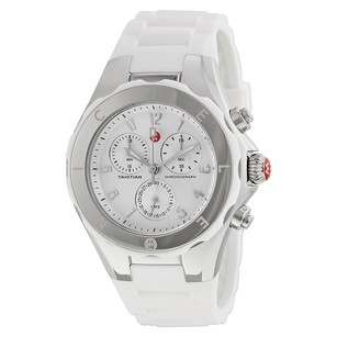 Michele Tahitian Jelly Bean Silver Dial White Silicone Ladies Watch