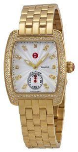 Michele Urban Mini Silver White Guilloche Dial 18kt Gold-plated Ladies Watch