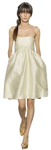 Michon Schur Runway Strapless Empire Floral Pleated Dress