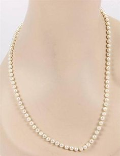 Mikimoto Mikimoto 5.5mm Pearl 18k Yellow Gold Clasp Strand Necklace - 21.5