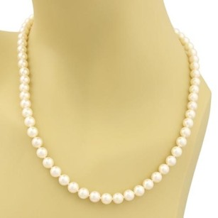 Mikimoto Mikimoto Blue Lagoon Single Strand 6.5mm Cultured Pearls 14k Gold Necklace