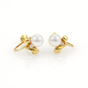 Mikimoto Mikimoto Diamonds 6mm Akoya Pearls 18k Yellow Gold Screw Back Earrings