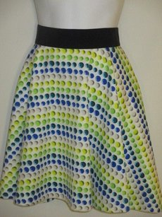MILLY Polka Dot A Line Skirt blue green yellow