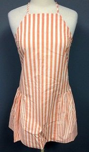 MILLY short dress Orange White Striped Cotton Ruffle Bottom Lined 957a on Tradesy
