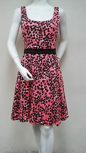 MILLY short dress Pink Isabelle Blossom 100 Cotton Black Dotted Sleeveless on Tradesy