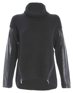 MILLY Leather Zippers Wool Sweater