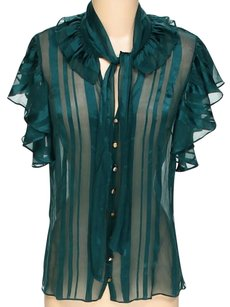 Milly of New York Silk Sheer Ruffle Striped Top Teal