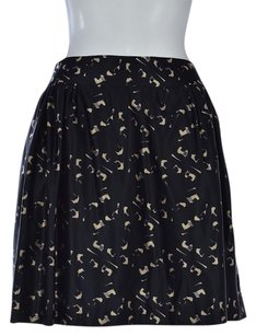 MILLY Womens Printed Pleated Silk Above Knee Casual Skirt Black