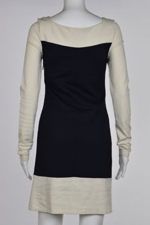 20cd2faa5e2bb7 MILLY Milly Petite Womens Ivory Color Block Sheath Dress P Above Knee Long  Sleeve 70%