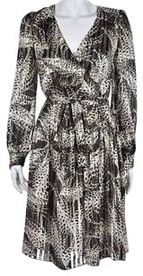 MILLY Womens Brown White Dress