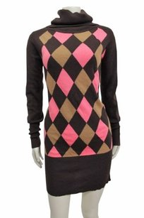MILLY short dress Brown pink Argyle on Tradesy