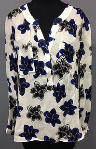 MILLY Black Blue Floral Sheer Silk Long Sleeve V Neck 936 A Top White