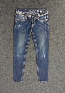 Miss Me Blue Flat Front Skinny W Bling Accents 27 Cotton Blend Sma7939 Skinny Jeans