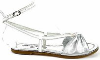 Miss Sixty Metallic Leather Ankle Strap Flat White / Silver Sandals