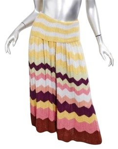 Missoni Knit Chevron Striped Skirt Multi-Color