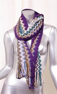 Missoni Missoni Colorful Purple Hues Wool Knit Zig-zag Design Fringe End Wrap Scarf