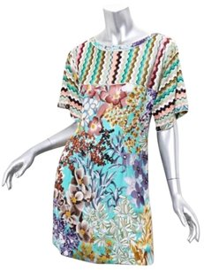 Missoni short dress Multi-Color Womens Colorful Floral Print Short Sleeve Above Knee Shift 426 on Tradesy