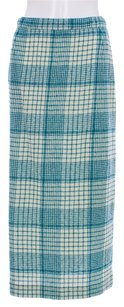 Missoni Wool Plaid Nylon Weave Skirt Teal