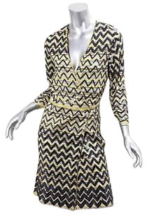Missoni Sequin Paillettes Zig Zag Long Sleeve Wrap Front Dress