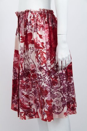 29e3e82668 durable modeling Miu Miu Pink Red Floral Print Cotton Gathered Snap Button  Knee Length Skirt 426