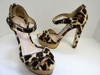 Miu Miu Leopard Calf Hair Heels Italy Brown Platforms