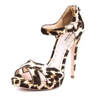 Miu Miu Womens Womens Brown Beige Leopard Pony Hair Strappy High Heel Multi-Color Pumps