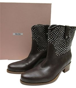 Miu Miu Studded Western Ankle Brown Boots