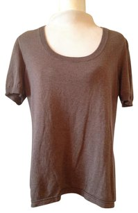Miu Miu Italy Knit Short Sleeve Crew Neck Scoop Neck Top Oatmeal Brown