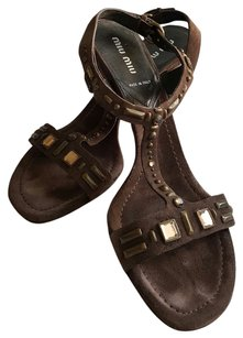 Miu Miu Jewels Dark brown suede Sandals