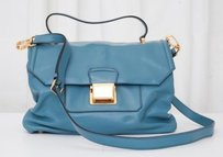 Miu Miu Gold Soft Vitello Leather Handbag Satchel in Blue