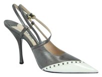 Miu Miu Womens Spazzolato Taupe, White Pumps