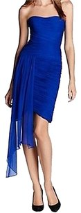 Cobalt Blue Maxi Dress by ML by Monique Lhuillier Blue Silk Asymmetrical Draped Cocktail Evening