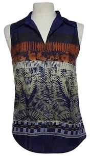 MM Couture Mm Womens Blue Beige Printed Sleeveless Shirt Top Multi-Color
