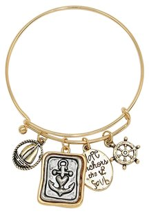 Other Anchor with Two-tone charms Bangle Bracelet