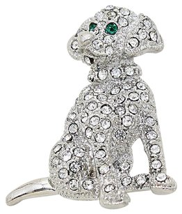 Modern Edge Crystal Puppy dog Pin Brooch