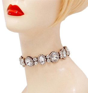 Modern Edge crystal rhinestone choker necklace earring set
