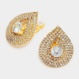 Modern Edge Crystal rhinestone teardrop clip on earrings