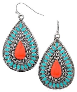 Modern Edge Floral enamel metal teardrop earrings