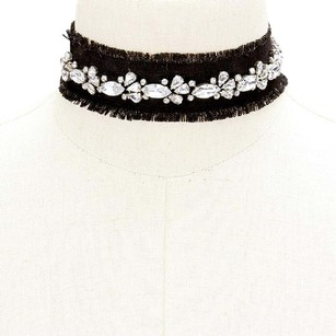 Modern Edge Frayed black denim choker necklace with crystals