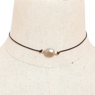 Modern Edge Natural stone accented thin faux leather choker necklace